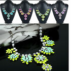 NEW Fashion Women Vintage Crystal Flower Crystal Bib Choker Statement Necklace