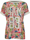 New Womens Miami 83 Floral Print Ladies Short Turn Up Sleeve Baseball Top 8 - 14