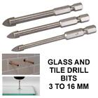 "Individual Tile & Glass Drill Bits 3mm-16mm 1/4"" Hex Shank"