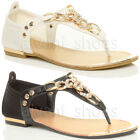 WOMENS LADIES FLAT DIAMANTE GOLD CHAIN T-BAR TOE POST SUMMER SANDALS SIZE 3 36