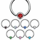 Surgical Steel Crystal Gem Ear Tragus Helix Nose Nipple Eye Belly Bar 16GA 1.2mm