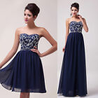 STOCK long Graduation Evening Party Masquerade Ball Gown Short Prom Dresses Plus