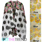 Womens Floral Spotted Kimono Ladies Chiffon Summer Beach Cape Coat Shawl