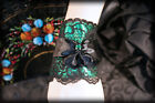 Gothic Burlesque Pin Up Lolita GREEN Satin & Black Lace Corsage Cuff Bracelet
