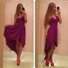 Trendy Women Females Chiffon Sleeveless V-Neck Asymmetric Club Cocktail Dresses