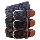 BMC Mens Wear 3pc Stretchy Woven Design Tricolor One Size Adjustable Belt Set