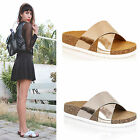 WOMENS CROSS OVER STRAP LADIES PU SLIDERS MULES FLAT SLIP ON SANDALS SHOES SIZE