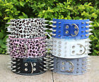Adjustable Pet Cat Dog 4 Rows Spiked Studded Collar PU Leather Buckle Neck Strap