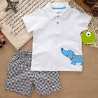 2pcs Cotton Toddler Baby Boys White T-Shirt Top Shorts Summer Clothing V30W 2-5T