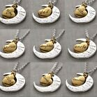 """Novel Gold/Silver Chic Family""""I LOVE YOU TO THE MOON AND BACK """"Necklace Pendant"""