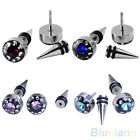 2Pcs Nice Mens Gothic Punk Crystal Stainless Steel Ear Studs Spike Earrings Gift