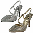 Ladies Anne Michelle Slip On Heels Gold/Silver F9812