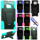 For Samsung Galaxy S6 Advanced Layer HYBRID KICKSTAND Rubber Phone Case Cover