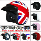 LEOPARD LEO604 MOD RETRO Open Face Motorbike Motorcycle Scooter Helmet + Goggles