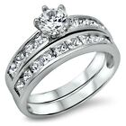 Sterling Silver wedding set CZ Round cut Engagement Ring Bridal size 5-10 New