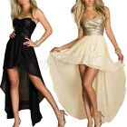 Women's Sexy Long Chiffon Evening Formal Dance Party Strapless Paillette Dresses