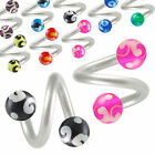 2pcs spiral twist barbell eyebrow bar ring ear jewellery 9GBY-PICK LENGTH&COLOUR