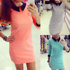 New Fashion Sexy Women Clothing Dress Short Sleeve Lapel Party Dress Reliable