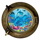 Huge 3D Porthole Dolphins under sea View Wall Stickers Art Decal Wallpaper 1126