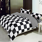 Check Black/White New Queen/Double Bed Quilt/Duvet/Doona Cover Set Polyester 4PC