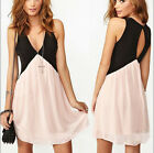 SK Women Chic Deep V Neck Hollow Back Club Cocktail Party Evening Mini DressCA3