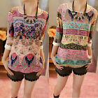 Korean Style Women's 3/4 Sleeve Shirt Floral Top Girl Casual Slim Blouse 5 Size