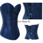 Sexy Floral Blue Overbust Corsets Top Lace up Boned Basques Lingerie S-2XL