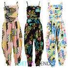 Girls Floral Jumpsuit Kids Teens Strappy Strap Neon Long Jumpsuit All In One