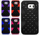 For Samsung Galaxy S6 HYBRID IMPACT TUFF Diamond Case Phone Cover +Screen Guard