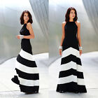 Women Bodycon Sexy Boho Stripe Cocktail Evening Party Summer Long Maxi Dress New