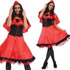 Ladies Longer Length Red Riding Hood Fancy Dress Costume Outfit 8-26 Plus Size