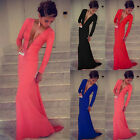 BEST PRICE Women Long Sleeve Prom Ball Cocktail Party Dress Evening Gown UK EW