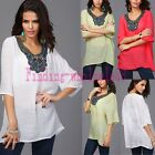2015 Hot Women Ladies Short Sleeve Embroidery Loose Tee Shirt Casual Blouse Top
