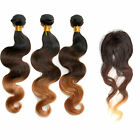 "Hot 3bundles Brazilian Ombre Human Hair Extension Body Wave+Free14""Ombre Closure"