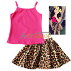 Kid Baby Girls Animal Leopard Floral Flower Sleeveless Top Skirt 2 pcs/Set Dress