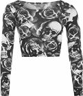 New Womens Skull Roses Print Long Sleeve Short Stretch Ladies Crop Top 8-14
