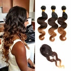 "Hot 3Bundles Ombre Brazilian Human Hair Extension Body Wave+ Free 14"" Closure US"