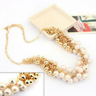 Women Charm Jewelry Crystal Pearl Bib Choker Chunky Statement Collar Necklace