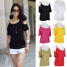 Womens Short Sleeve Loose Casual Sexy Off Shoulder Tops Blouse T Shirt Summer