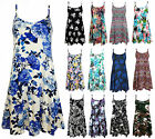 Ladies Cami Swing Printed Mini Dress Womens Strappy Flare Vest Top Plus Size8-24