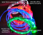 NTJ LOT (100) PIECES led light-up data sync charger power cable for smart phones