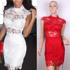 Fashion Women Bandage Bodycon Lace See-Through Evening Party Cocktail Mini Dress