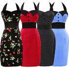 Vintage Sexy Short Bodycon Rockabilly 50s 60s Swing Party Pinup Polka Jive Dress