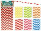 Pack of 16 Stripy Cocktail Drinking Party Picnic Straw Coloured Straws