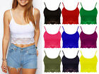 Ladies Strappy Sleeveless Crop Top Womens Lace Trim Vest Bralet Summer Basic Top