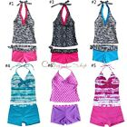 2Pcs Girls Halter Tankini Swimwear Bikini Swimsuit Swimming Costume Age 5-16 Yrs