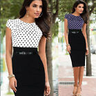 Elegant Womens Polka Dot Belt Bodycon Party OL Work Cocktail Sheath Pencil Dress