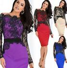 Womens Ornate Lace Stitching Belted Long Sleeve Jacquard Bodycon Pencil Dress KZ