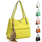 New Faux Leather Handbags V Shape and Fashion Scarf Accent Shoulder Bag Satchel