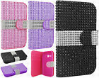 For Alcatel ONETOUCH Fierce 2 Premium Bling Diamond Wallet Case Flip Pouch Cover